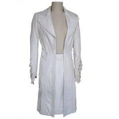 Vintage Versace Leather Applique Coat & Skirt