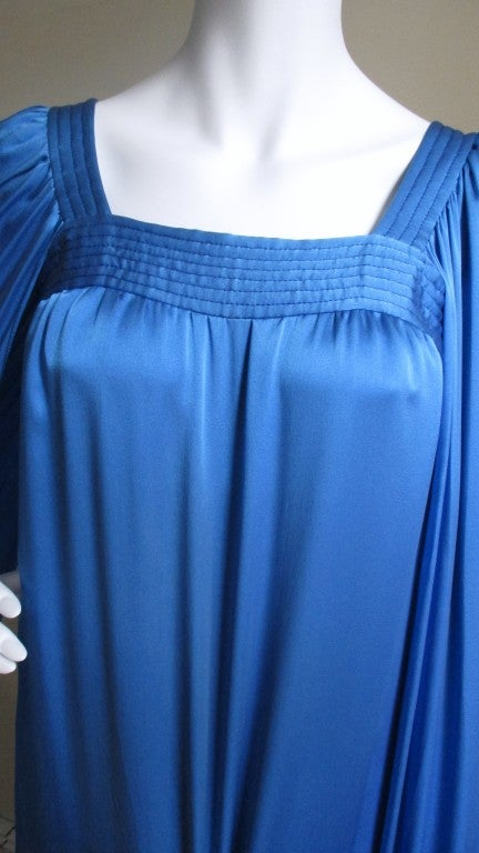 Blue 1970's Christian Dior Couture Numbered Dress For Sale