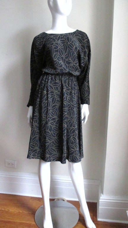 Black Halston Silk Wrap Dress 1970s For Sale