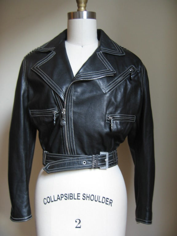 Vintage Gianni Versace Leather Motorcycle Jacket & Pants With Chains 2