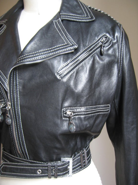 1990s Gianni Versace Leather Motorcycle Jacket & Pants With Chains 3