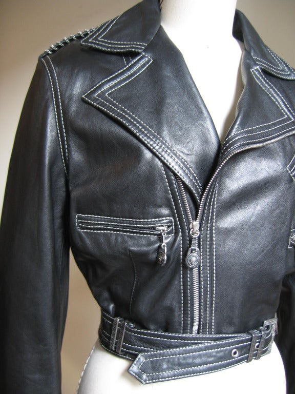 1990s Gianni Versace Leather Motorcycle Jacket & Pants With Chains 4