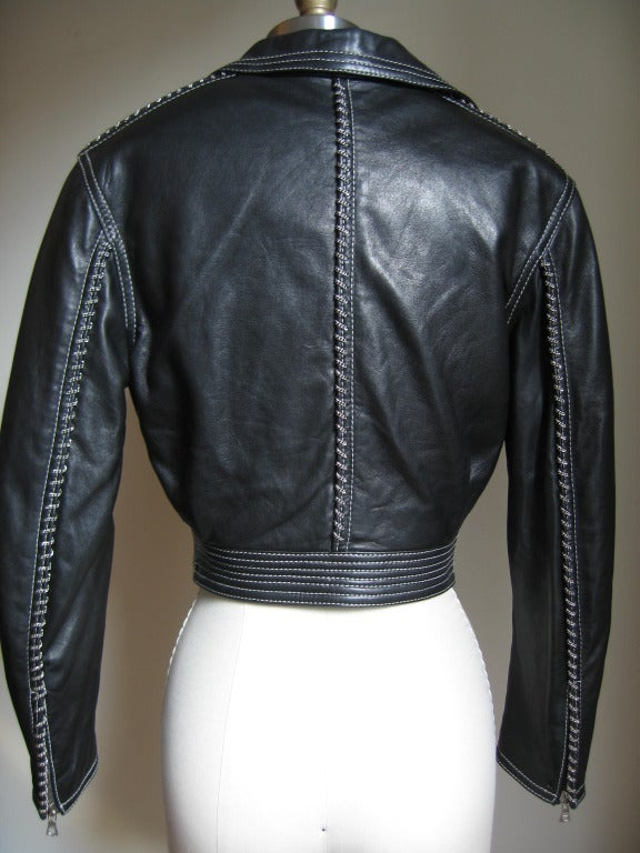 Vintage Gianni Versace Leather Motorcycle Jacket & Pants With Chains 6