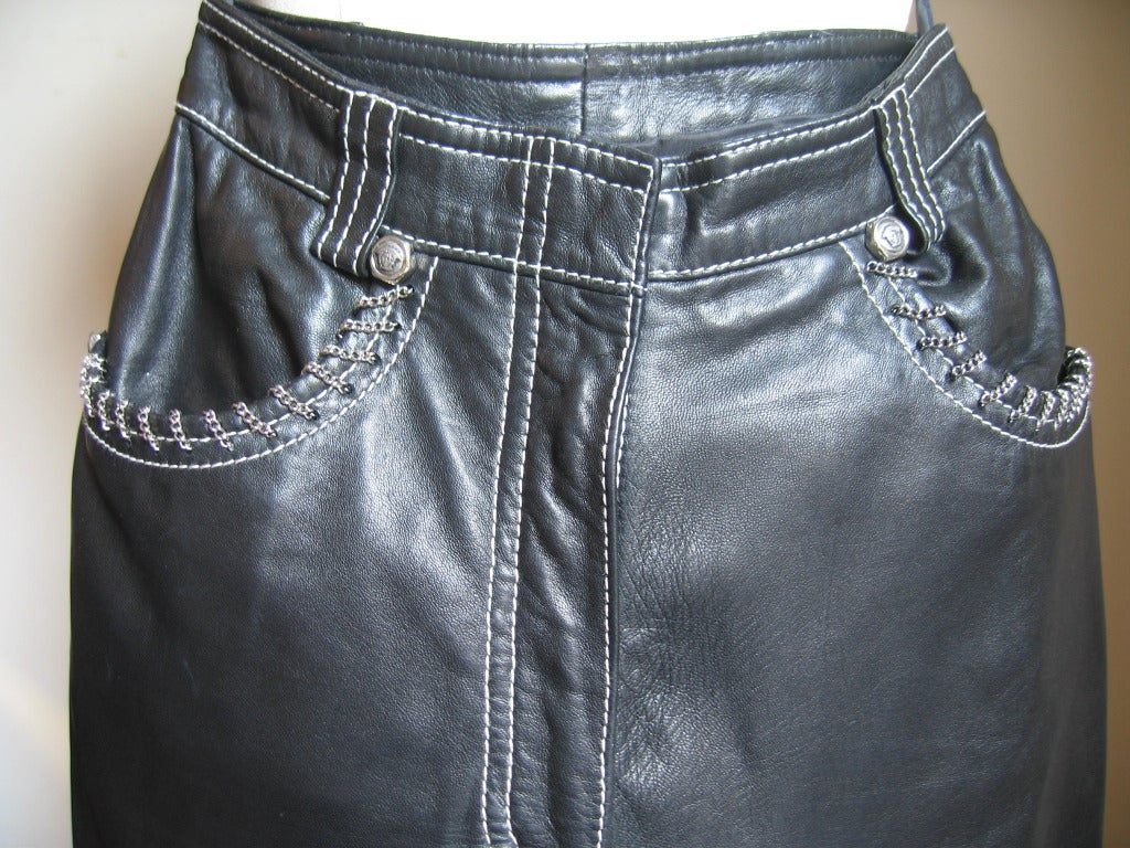 1990s Gianni Versace Leather Motorcycle Jacket & Pants With Chains 7