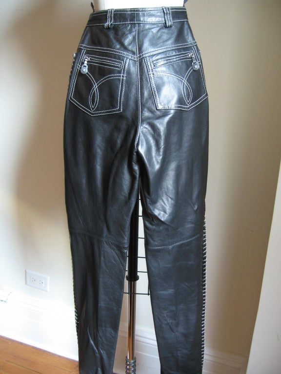 Vintage Gianni Versace Leather Motorcycle Jacket & Pants With Chains 9