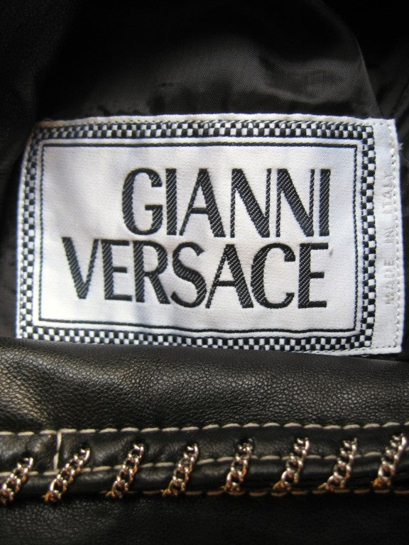 1990s Gianni Versace Leather Motorcycle Jacket & Pants With Chains 10