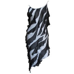 Moschino Couture Silk Jersey Ruffles Dress