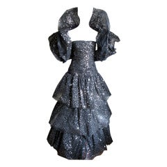 Scassi Couture Sequin Tulle Gown & Wrap