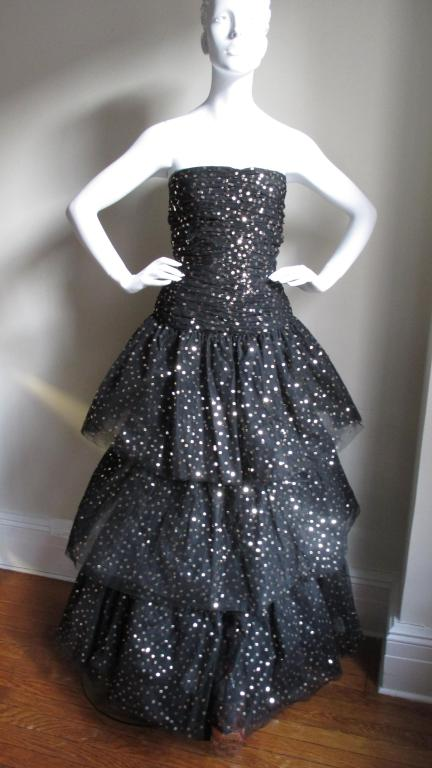 Scassi Couture Sequin Tulle Gown & Wrap 2