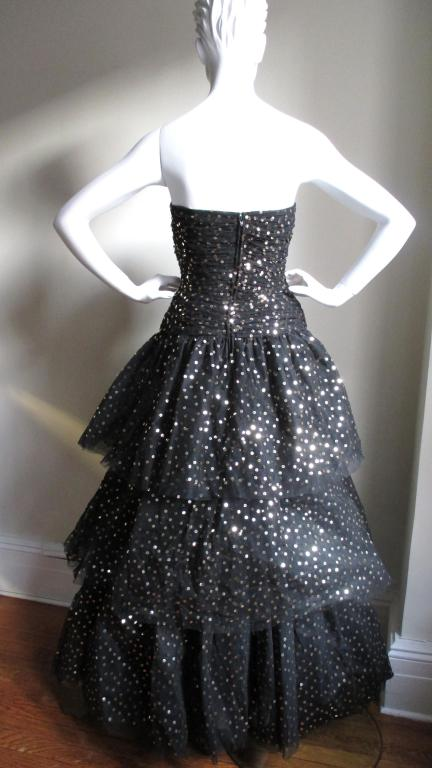 Scassi Couture Sequin Tulle Gown & Wrap 7