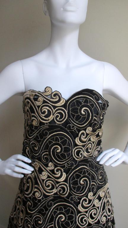 Arnold Scassi Elaborately Embroidered Silk Gown 3