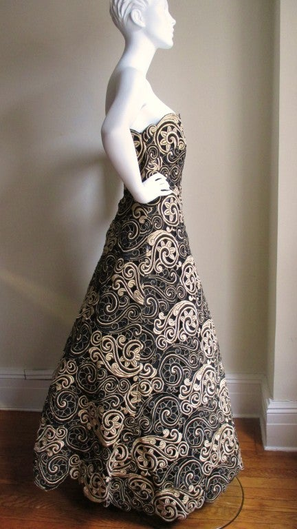 Arnold Scassi Elaborately Embroidered Silk Gown 6