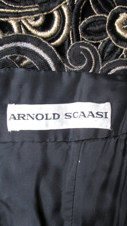 Arnold Scassi Elaborately Embroidered Silk Gown 10