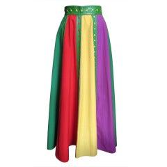 Giorgio Sant Angelo Vintage Color Block Skirt w Leather Trim