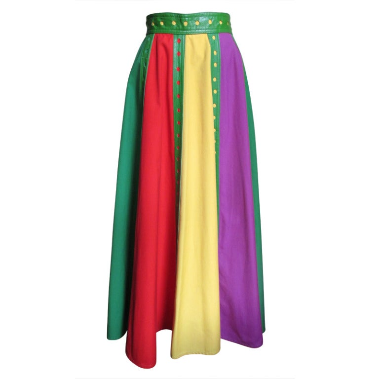Giorgio Sant Angelo Vintage Color Block Skirt w Leather Trim 1