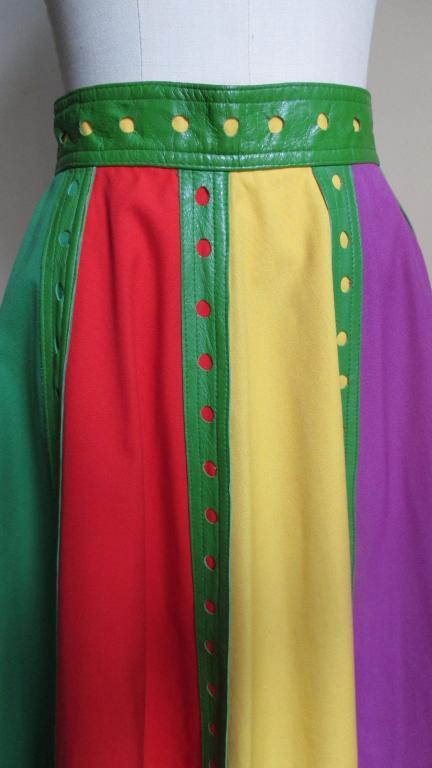 Giorgio Sant Angelo Vintage Color Block Skirt w Leather Trim 2