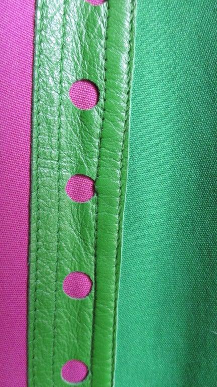 Giorgio Sant Angelo Vintage Color Block Skirt w Leather Trim 3