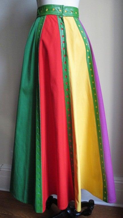 Giorgio Sant Angelo Vintage Color Block Skirt w Leather Trim 4
