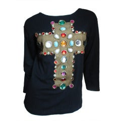 Iconic Christian Lacroix Jeweled Cross Shirt