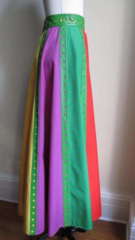 Giorgio Sant Angelo Vintage Color Block Skirt w Leather Trim 5