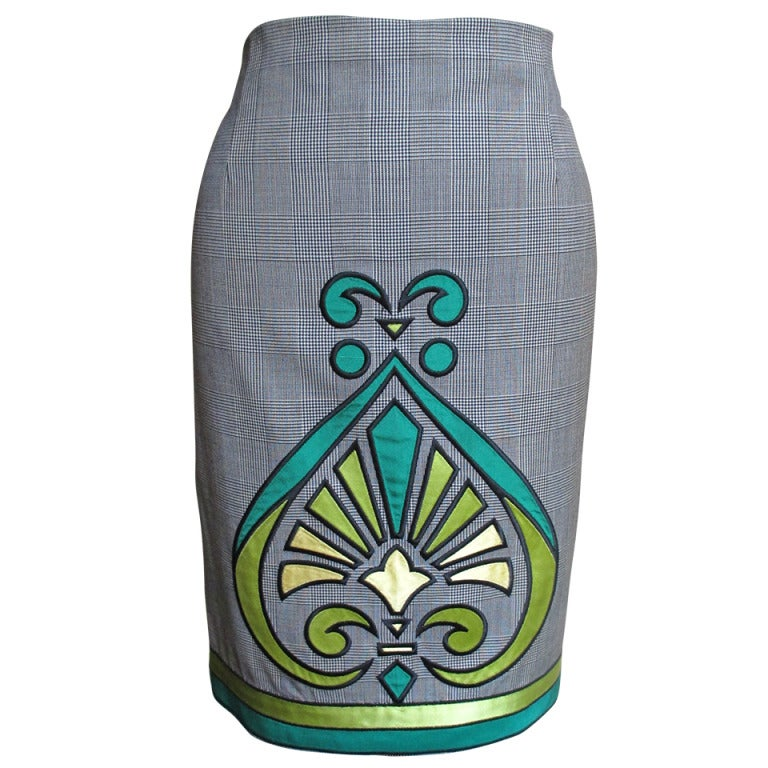 1990s Gianni Versace Applique Skirt W Different Front & Back