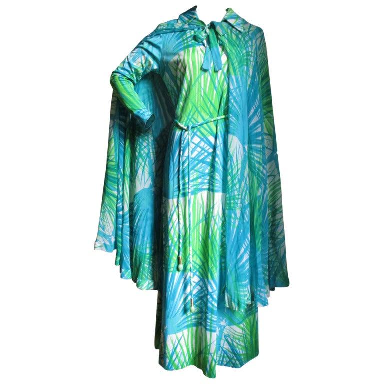 1970's La Mendola Maxi Dress W Silk Cape/Over Skirt