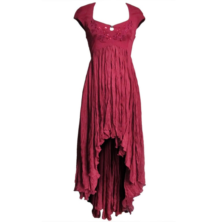 Vintage Ozbek High Low Maxi Dress 1