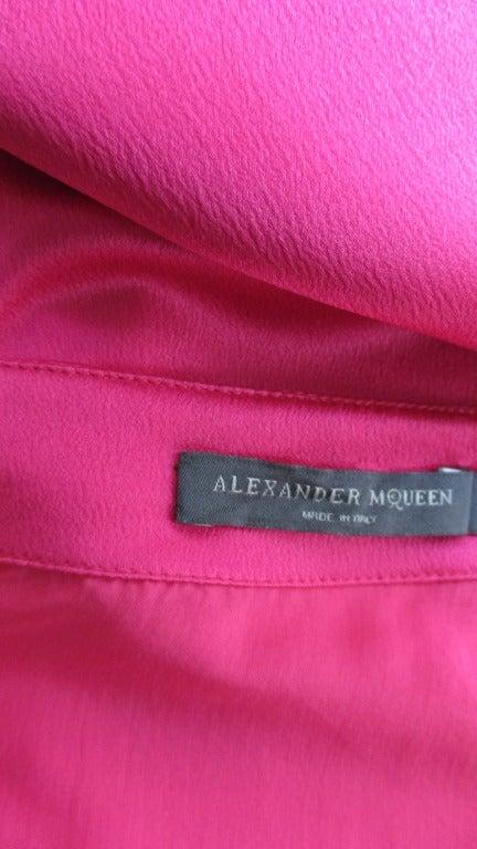 Alexander McQueen Asymmetric Neckline Silk Dress  7
