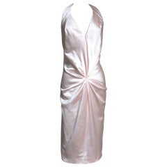 Ferragamo Shell Pink Plunge Silk Dress