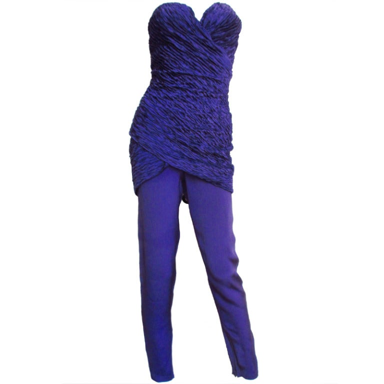 1980's Gianni Versace Silk Corset Jumpsuit