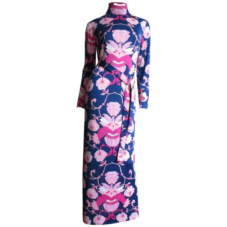 1970's La Mendola Maxi Dress & Silk Over Skirt
