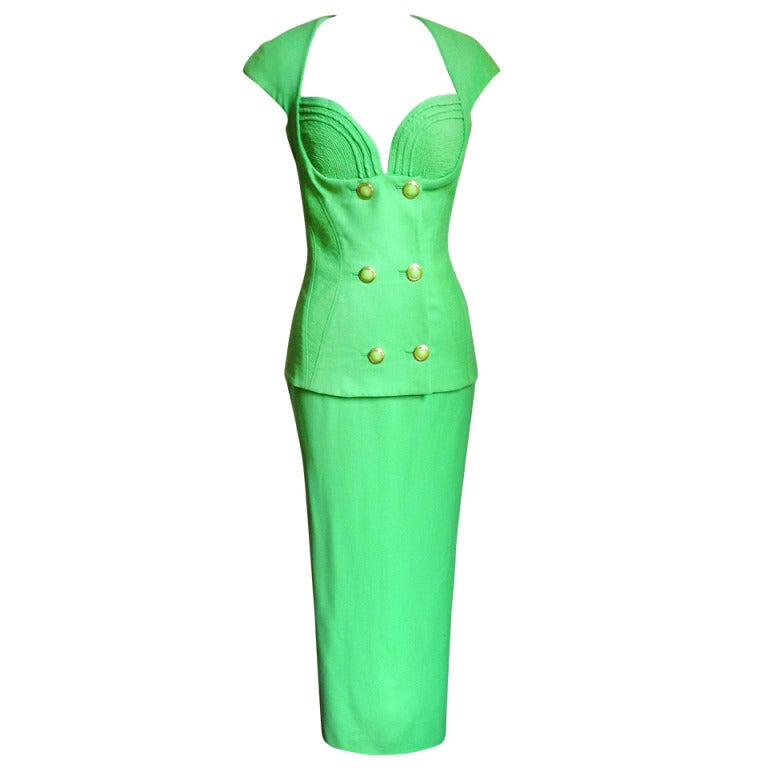 Vintage Versace Bustier Corset Jacket & Skirt For Sale
