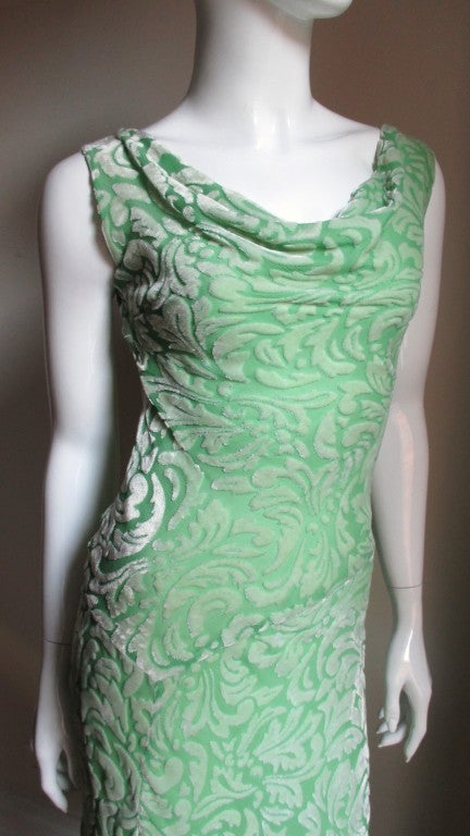 Blue 1990s Gianni Versace Silk Velvet Dress For Sale