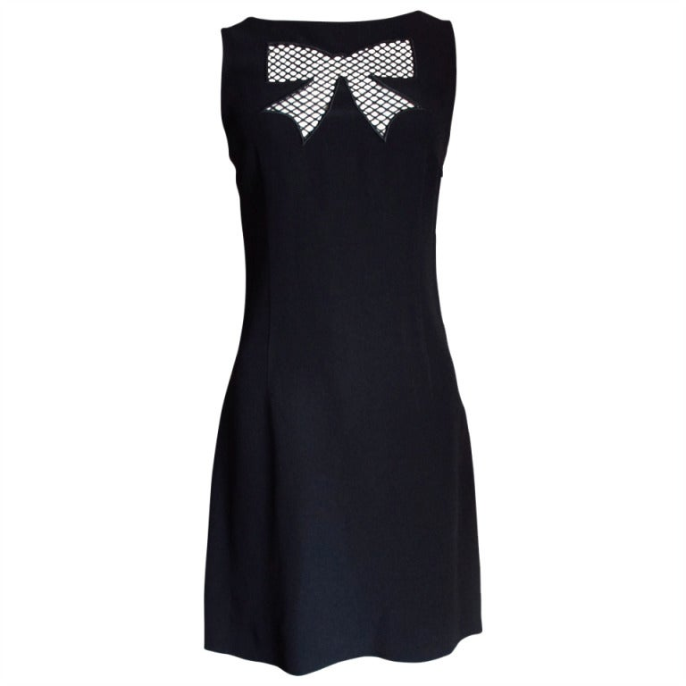 1990s Moschino Dress with Net Covered Bow Cut-out