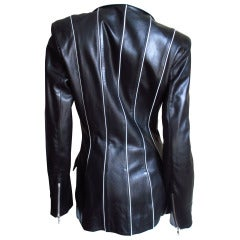 Claude Montana Piped Striped Leather Jacket