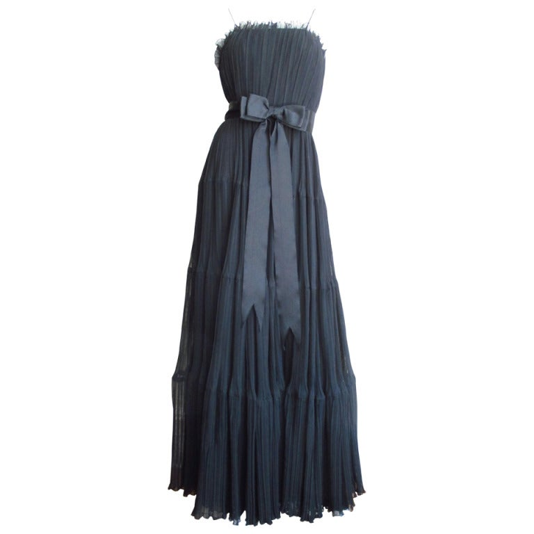 1960s Jean Louis Silk Pleated Gown