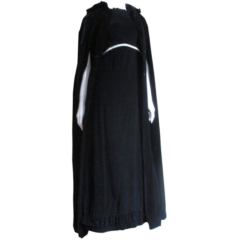 1960s Bill Blass Silk Gown and Hooded Cape