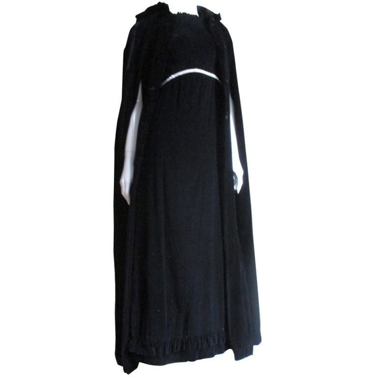 1960s Bill Blass Silk Gown & Hooded Cape