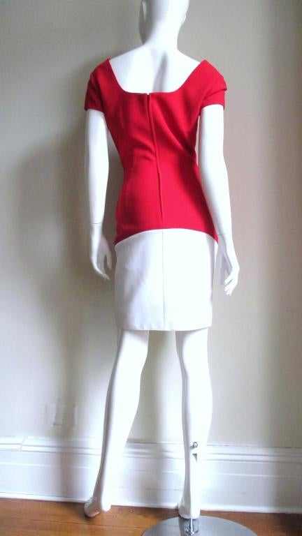1990s Thierry Mugler Color Block Dress For Sale 2
