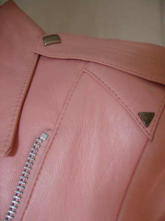Pink 1980's Michael Hoban North Beach Leather Motorcycle Jacket For Sale