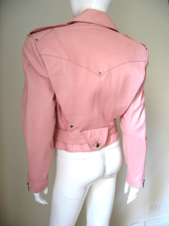 Women's 1980's Michael Hoban North Beach Leather Motorcycle Jacket For Sale