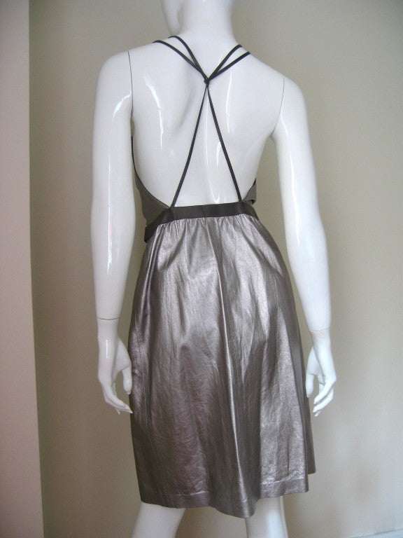 Tom Ford Gucci Silver Leather Backless Wrap Dress 5
