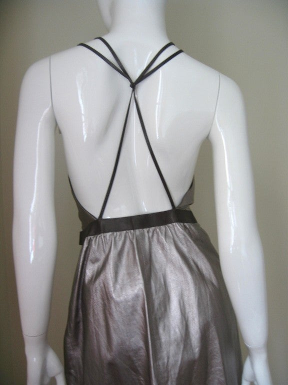 Tom Ford Gucci Silver Leather Backless Wrap Dress 6
