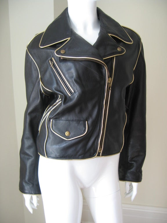 Moschino Quot Cheap And Chic Quot Gold Letter Leather Jacket At