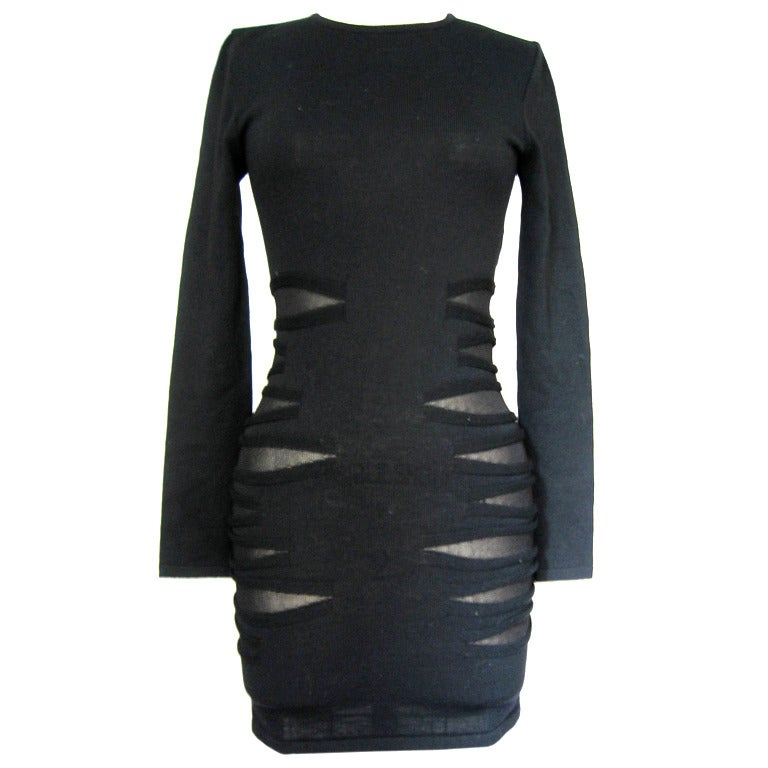 Versace Knit Dress With Mesh Cut-outs For Sale