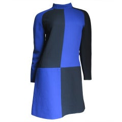 1970s Courreges Color Block Dress