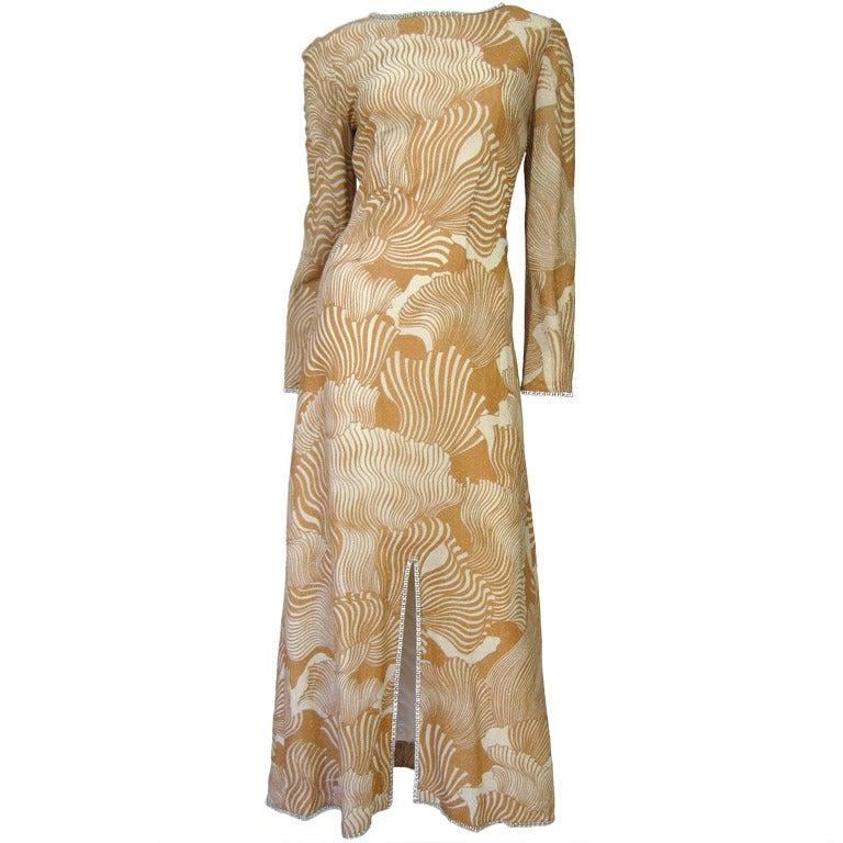 1970's Mod Pierre Cardin Lurex Maxi Dress