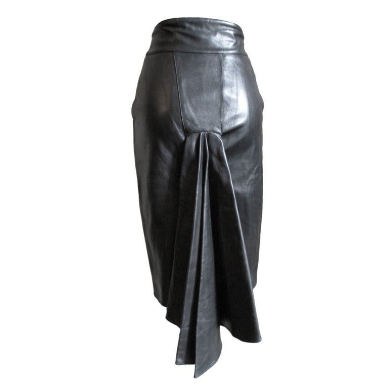 1990s Claude Montana Leather Bustle  Skirt