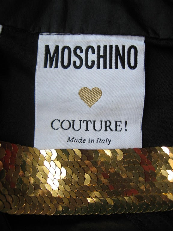 1990s Moschino Couture Gold Sequin Peace Sign Dress 10