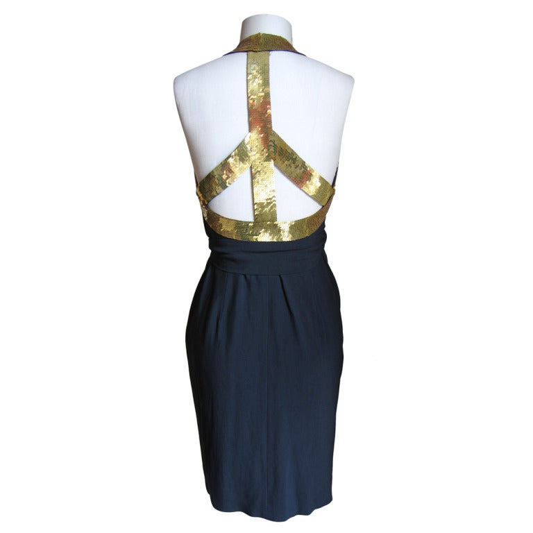 1990s Moschino Couture Gold Sequin Peace Sign Dress 1
